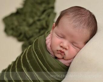 Ruffle Stretch Fabric Wrap Dark Olive Green Newborn Photography Prop Posing Swaddle