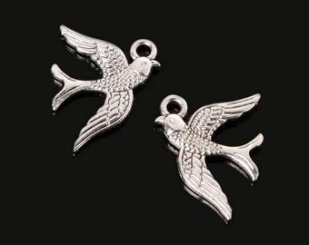 9 Antique Silver Swallow jewelry making charm craft jewelry project necklace charm bracelet charm swallow charm earring charm