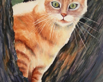 Cat, Watercolor Choose the size GiClee Print Otis Up a Tree by WatercolorsNmore
