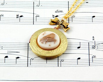 Piano Necklace - Music Locket - Vintage Locket Necklace - Music Jewellery