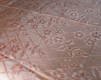 Antique Peachy Rose, Rayon Satin, Hollywood Regency Bedspread, Very Silky, Scalloped Edge