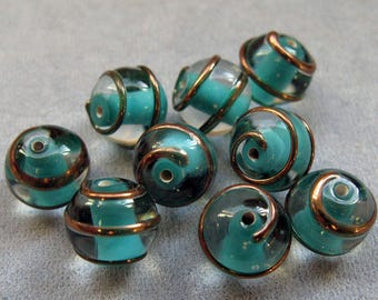3 Pieces 10 mm Aqua with Bronze Czech Lampwork Beads, Round Lampwork, Hand Made Beads