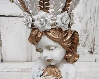 Sweet face mermaid statue hand painted distressed nautical decor coastal living beach house shabby decor shabby anita spero design