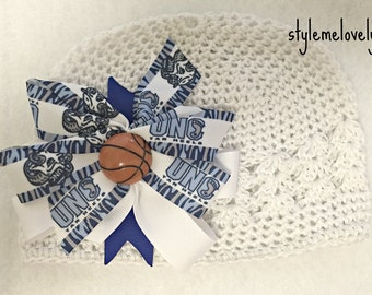 UNC Tarheels Baby girl Boutique Bow Crocheted Hat