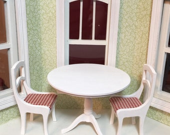 One Inch Scale Table or White Wood Chair with a Red and White Checked Seat for a Dollhouse or Miniature Scene