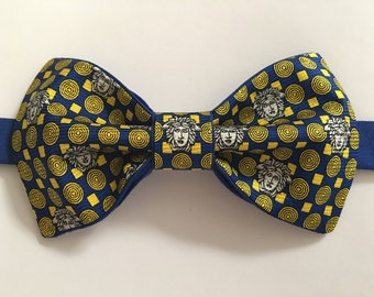 Handmade Mens Blue/Gold Upcycled Bow Tie Pre-tied Adjustabl Strap,Repurposed High Fashion, Neckwear, Wedding Bow Tie, Gift for Him, Birthday