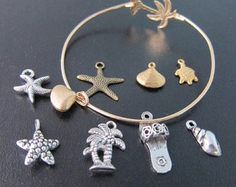 Add a Beach Charm to your Bangle Bracelet Order - Silver or Gold Beach Charm Bracelet, Beach Charm Bangle, Ocean Charm, Beach Jewelry