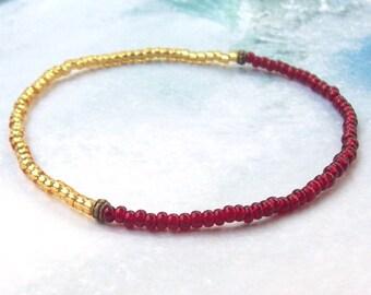 SALE Garnet and Gold Anklet, Silver Anklet, beaded anklet, red stacking anklet, stretchy, ankle bracelet, beach, plus size bracelet, january