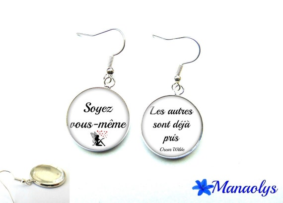 """Oscar Wilde, message, quote, """"Be yourself, others are already taken"""" earrings 2843 glass cabochons"""