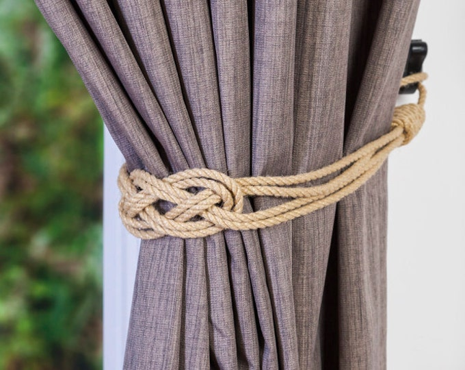 Beige Hemp rope carrick knot curtain tiebacks small knot shabby chic nautical style beach house ivory white gray