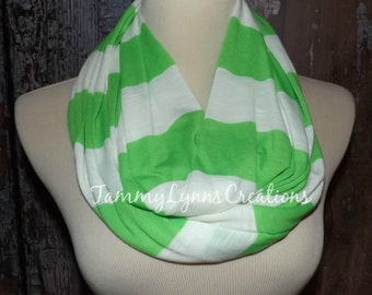 SALE!! Lime Green and White Stripe Infinity Scarf Cotton Slub Jersey Scarf Women's Accessories