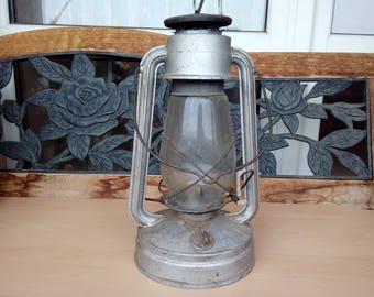 Vintage Kerosene Lantern / Antique Silver Hurricane Lantern / Vintage Kerosene Lamp / Old Military Petroleum Lantern / Rustic Western Decor