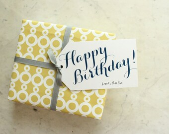 happy birthday gift tags - navy (blank)