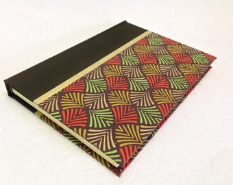 Handmade Journal with Geometric Leaf Pattern
