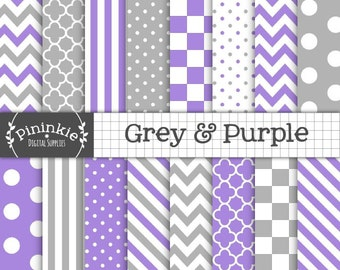 Grey and Purple Digital Paper, Stripes, Chevrons, Polka Dots, Instant Download, Commercial Use, Scrapbooking Paper Pack, Card M
