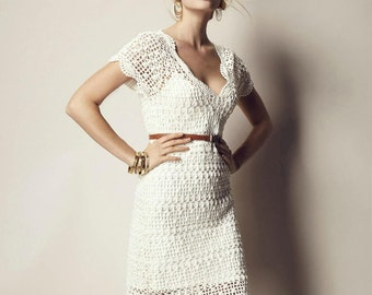 Beautiful Sweetheart Dress Vintage Crochet Hand-Made