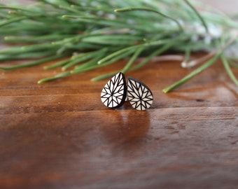 Wooden Geometric Teardrop Earrings