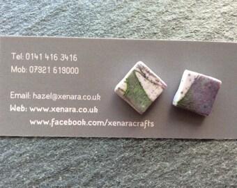 Square stud earrings - Heather colours - Batik look- Polymer clay earrings