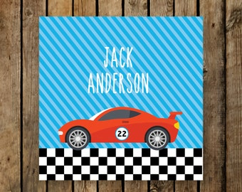 Personalized Valentine Tags / Kids / Favor & Gift Tags / Racecar / Racing / Sports Car
