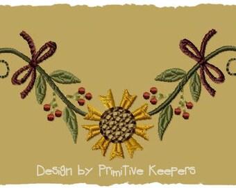 Primitive Machine Embroidery Design-Sunflower Garland--Version 1--(4X4)-INSTANT DOWNLOAD