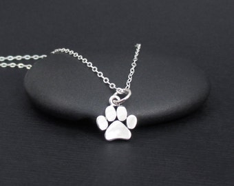 Paw Print Necklace Sterling Silver Dog Paw Necklace, Cat Paw Necklace, Pawprint Necklace,  Pet Lover Gift, Paw Print Jewelry