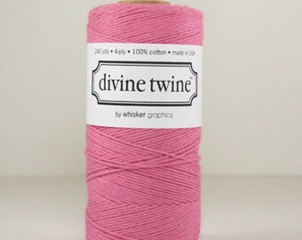 1 Spool Solid Colored Deep Pink Divine Twine, 240 yards / 219 m. Bakers Twine, Wedding diy, Divine Twine