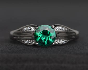 anniversary ring emerald ring round cut green gemstone May birthstone ring sterling silver ring