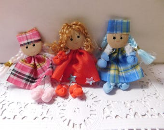 Set of Three Tiny Handmade Dolls