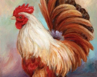 Rooster Art Print for kitchen decor 'Good Luck Rooster'