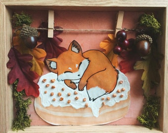 Fox watercolor painting, fall decor, cute Fox, donut art, autumn decor, ready to ship, watercolor painting autumn, OOAK, thanksgiving decor