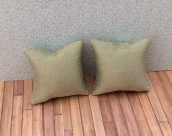 One Inch Scale Tan Silk Pillows – 24