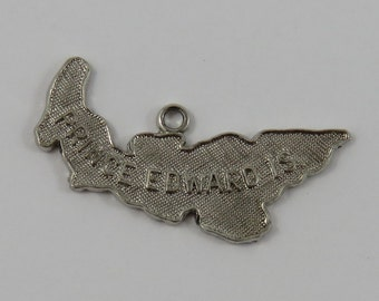 Map of Prince Edward Island Sterling Silver Vintage Charm For Bracelet