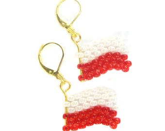 Earrings (G) - flag poles from Miyuki - glass beads - WM / EM - Fanartikel (BS-1187)