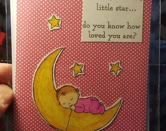 Handmade Baby Shower Girl Little Star Card Inside Anniversary greeting card glitter coffee with matching envelope watercolor