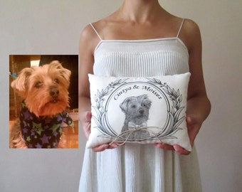 pet wedding ring pillow alternative ideas for pets personalized ring bearer dog portrait hand painted pet wedding ring pillow ivory white
