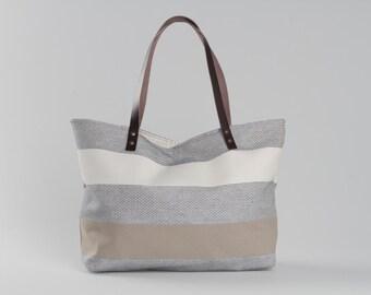 Canvas Tote Bag, Beach Tote Bag, Casual Tote Bag, Day Bag, Summer Tote bag, Hobo Tote bag, Jute Tote Bag, Striped Bag, Lagut, Weekend Bag