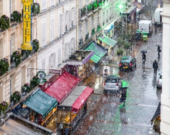 Paris Photography - Snowing in Paris, Fine Art Travel Photograph, Paris Decor, Gallery Wall Art, Paris Art Print, Large Wall Art