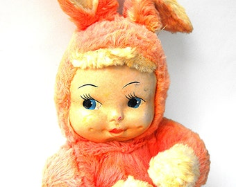 1940s Gund Easter Bunny Baby Doll - Rare Retro Pastel Pink Spring Rabbit Toy - Antique Nostalgic Child's Nursery Room Decor Cute Collectible