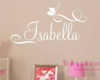 Girls Name Wall Decal - Custom name wall decal - butterfly wall decal - butterfly decal - girls nursery wall decal