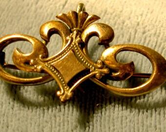 victorian gold metal antique pin