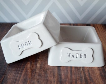 Personalized Square Food or Water Dog Bowl -  1 Small/Medium Size Bowl - Ceramic