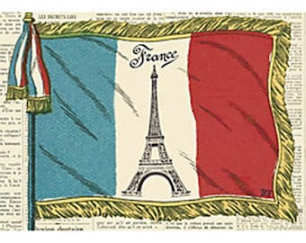 French Flag Wrapping Paper by Cavallini to Frame or Gift Wrapping, Book Binding, Decoupage, Collage, Paper Arts PSS 3475
