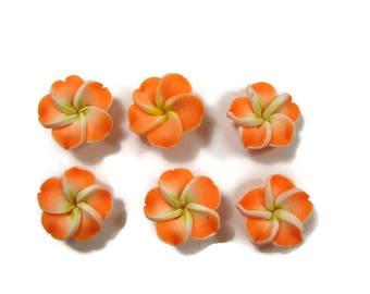 15 mm Polymer Clay Plumeria Flowers Set of 6 (SP7)
