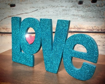 Sparkly Glittered LOVE word Wall Sign by Tiggymus & Co