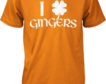 I Love Gingers with 4 Leaf Clover, St. Patrick's Day, Irish Pride Men's T-shirt, NOFO_01263