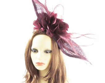 Mini Elisaveta Burgundy Fascinator Hat for Weddings, Kentucky Derby With Headband (40 colours)