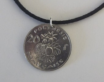 Polynesia Coin Necklace, 20 Francs, Mens Necklace, Womens Necklace, Coin Pendant, Leather Cord, Birth Year, 2008