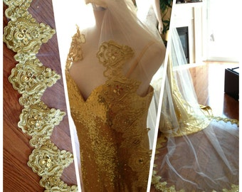 Gold wedding veil, beaded gold lace veil, 1 tier gathering at the comb