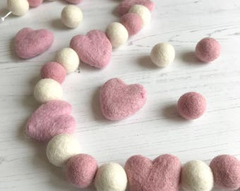 Nursery Decoration Heart Pink and White Pom Pom Garland For Nursery, Bedrooms, Decoration
