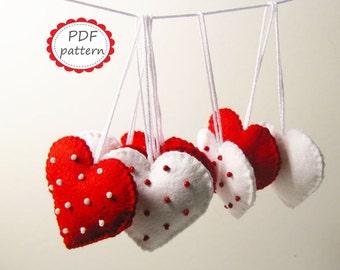 Felt heart decor pattern Polka dot Red White ornaments DIY - pdf sewing tutorial instructions handmade gift for Christmas Valentine Wedding